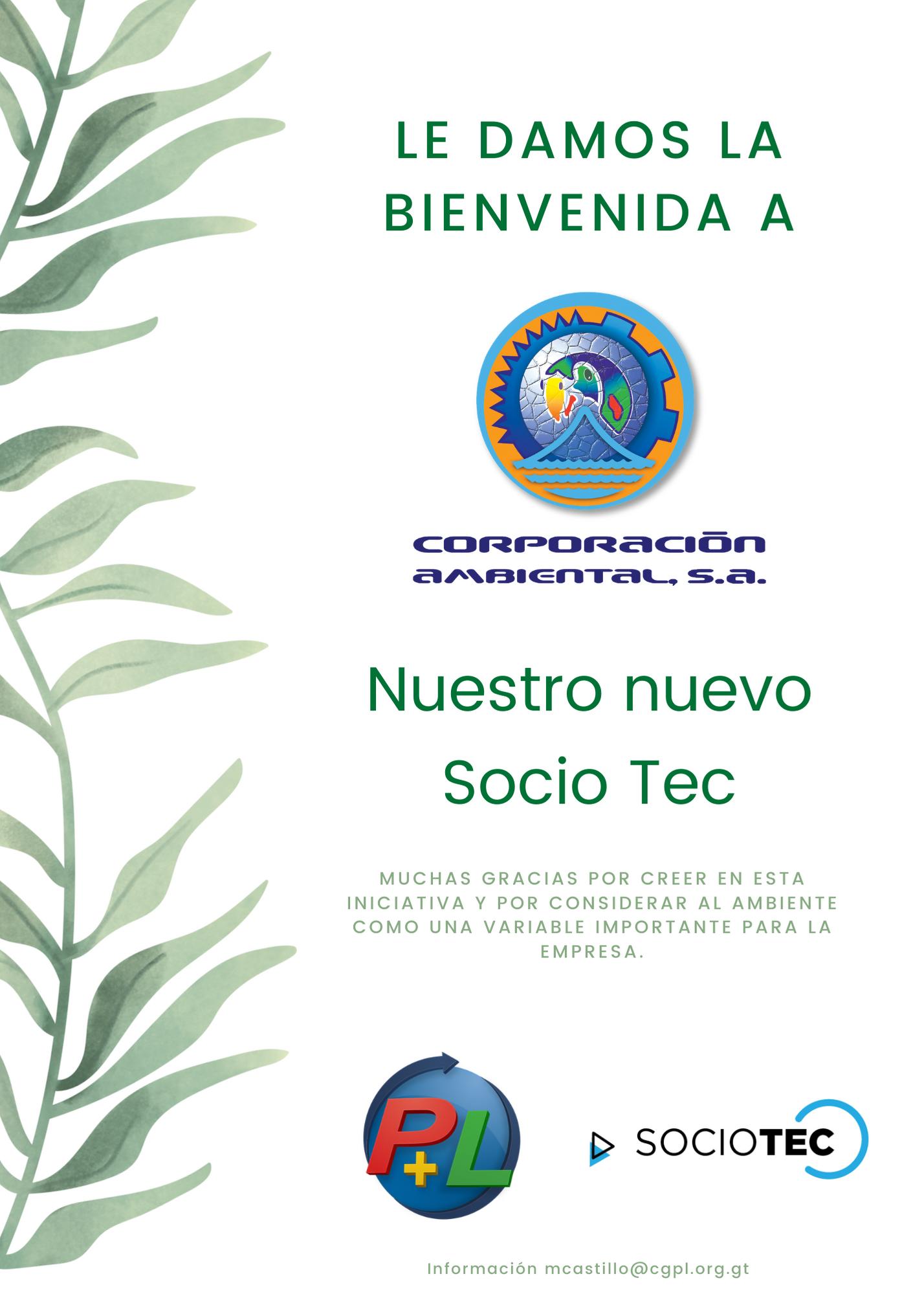 Le Damos La Bienvenida A Nuestro Nuevo Socio Tec, Corporación Ambiental