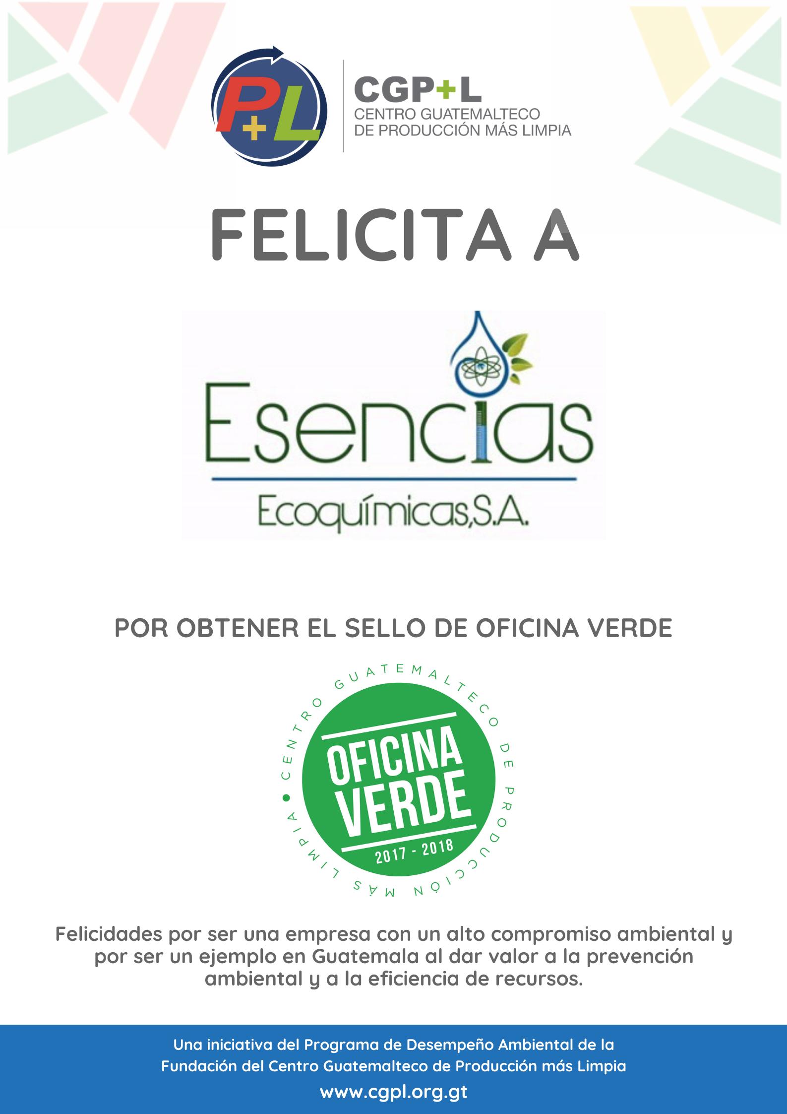Esencias Ecoquímicas Obtiene El Sello De Oficina Verde, ¡felicidades!