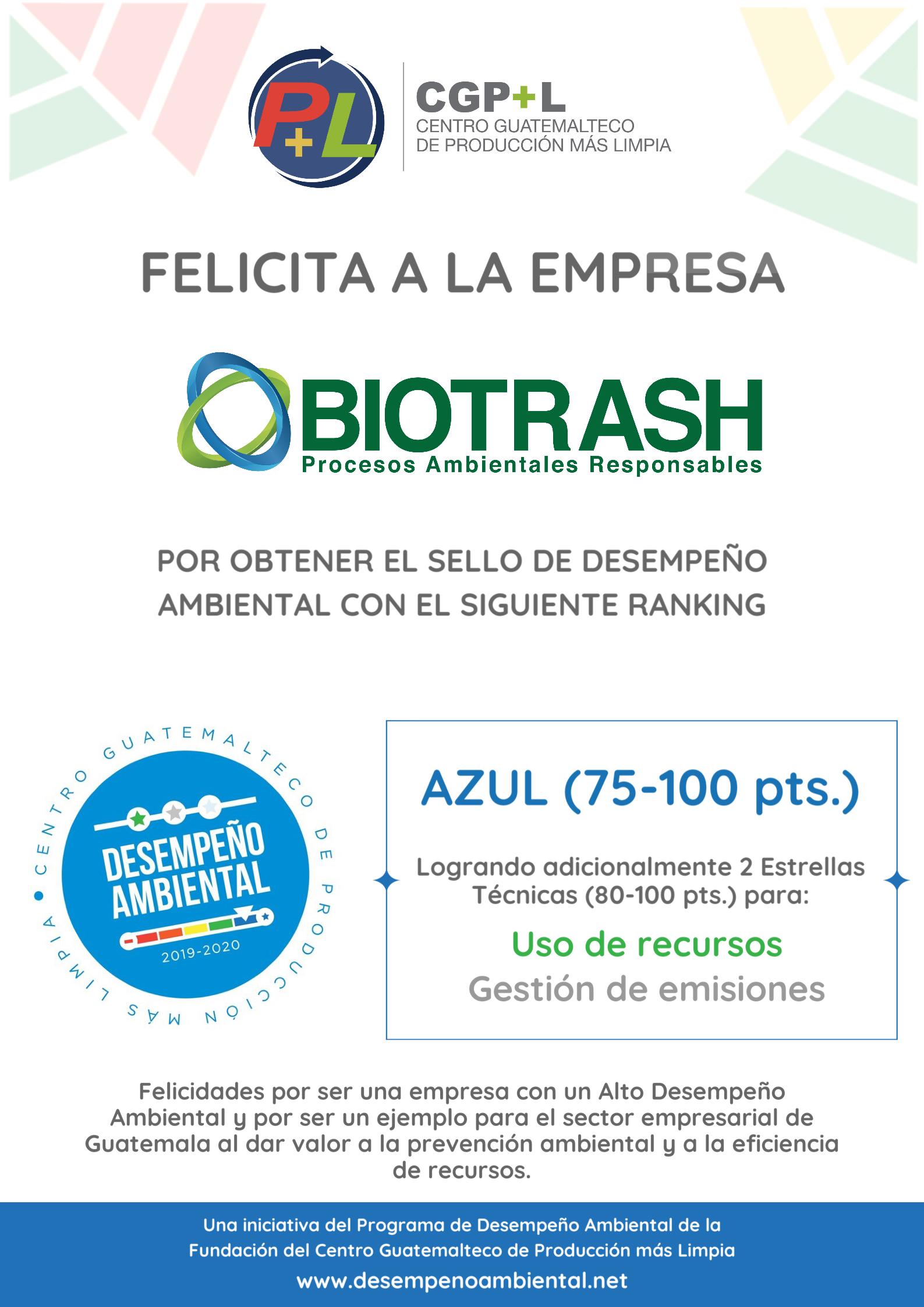 Biotrash Ha Obtenido El Sello De Desempeño Ambiental, ¡felicidades!