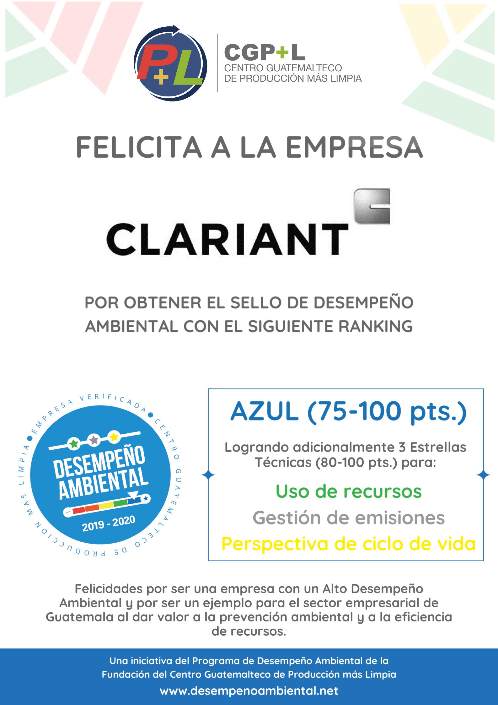 Clariant Ha Obtenido El Sello De Desempeño Ambiental, ¡felicidades!